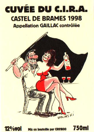 Étiquette cuvée CIRA 1998 par Wolinski